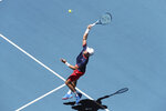 Norway's Casper Ruud plays against Russia's Daniil Medvedev during their match at the ATP Cup in Perth, Australia, Tuesday, Jan. 7, 2020. (AP Photo/Trevor Collens)