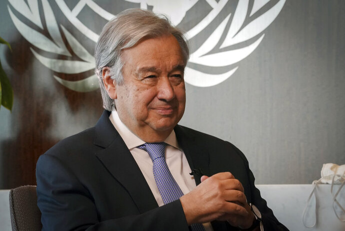United Nations Secretary-General António Guterres listens during an interview, Wednesday Oct. 21, 2020, at U.N. headquarters. (AP Photo/Bebeto Matthews)