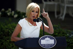 White House spiritual adviser Paula White speaks during a White House National Day of Prayer Service in the Rose Garden of the White House, Thursday, May 7, 2020, in Washington. (AP Photo/Alex Brandon)
