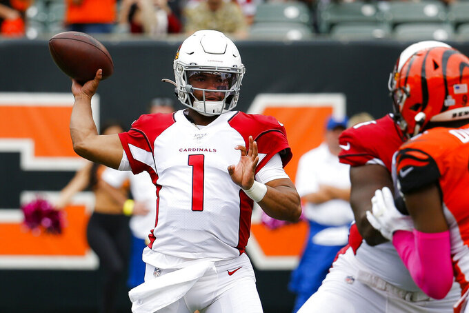 Arizona Cardinals quarterback Kyler Murray (1) passes in the first half of an NFL football game against the Cincinnati Bengals, Sunday, Oct. 6, 2019, in Cincinnati. (AP Photo/Frank Victores)