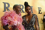 Cynthia Erivo, left, and Janelle Monae arrive at the Los Angeles premiere of