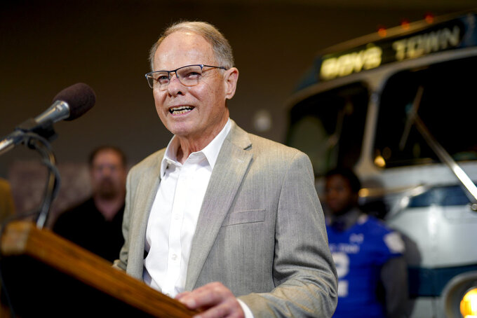 Ohio NCAA college football head coach Frank Solich, who was fired from Nebraska in 2003, smiles during a news conference in Boys Town, Neb., Tuesday, Jan. 8, 2019. Solich was in town to receive the Tom Osborne Legacy Award at the Outland Trophy awards dinner on Wednesday night. (AP Photo/Nati Harnik)