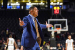 Pittsburgh coach Jeff Capel reacts to a call during the first half of the team's NCAA college basketball game against Georgia Tech on Wednesday, Feb. 20, 2019, in Atlanta. (AP Photo/Danny Karnik)