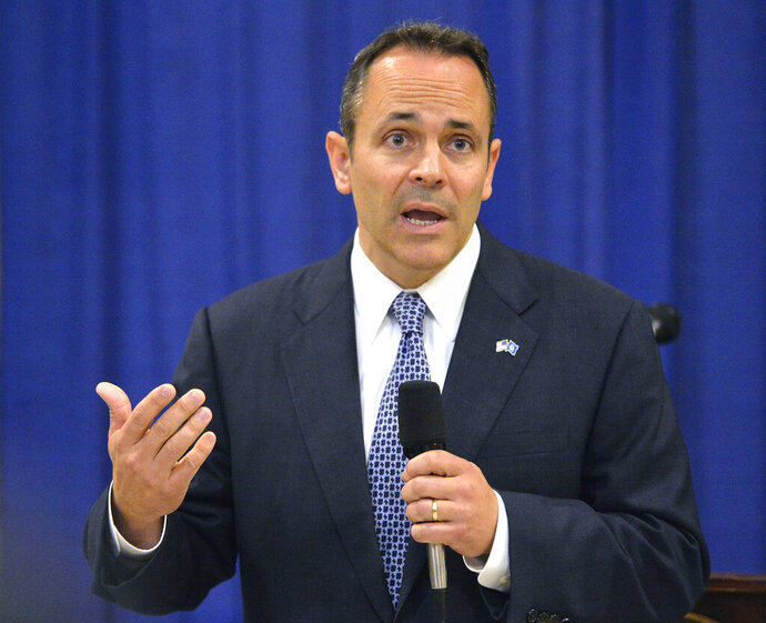 FILE - In this Nov. 6, 2015 file photo, Kentucky Governor-elect Matt Bevin addresses reporters during a news conference in Frankfort, Ky.  Bevin has feuded with teachers and insulted judges. He recently stunned GOP lawmakers by vetoing a pension bill, provoking a spat with the state Senate's top leader just weeks away from a primary election testing his standing with fellow Republicans. Despite the rancor, Bevin will be difficult to unseat. (AP Photo/Timothy D. Easley, File)