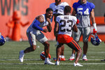 Cleveland Browns cornerback Troy Hill (23) and New York Giants wide receiver Sterling Shepard (3) get into a fight during a joint NFL football training camp practice Friday, Aug. 20, 2021, in Berea, Ohio. (AP Photo/Ron Schwane)