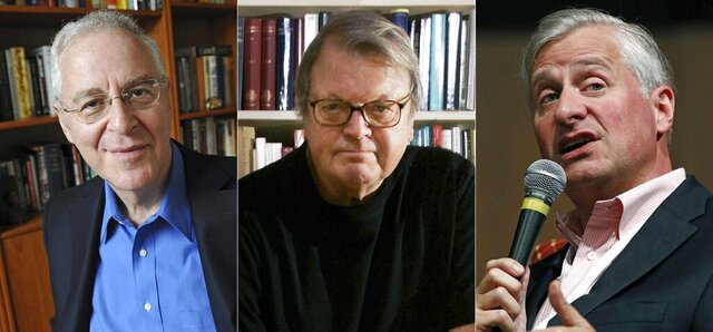 This combination photo shows Pulitzer-Prize winning authors, from left, Ron Chernow, Garry Wills and Jon Meacham, who are among hundreds of historians who have signed an open letter calling for President Donald Trump to be removed from office. The letter comes after last week's siege of the U.S. Capitol by his supporters. (AP Photo)