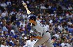 San Diego Padres relief pitcher Cal Quantrill throws against the Chicago Cubs during the eighth inning of a baseball game in Chicago, Sunday, July 21, 2019. (AP Photo/Nam Y. Huh)