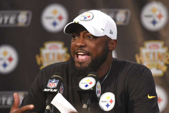 Pittsburgh Steelers coach Mike Tomlin speaks at a news conference after the team's preseason NFL football game against the Kansas City Chiefs, Saturday, Aug. 17, 2019, in Pittsburgh. The Steelers won 17-7. (AP Photo/Barry Reeger)