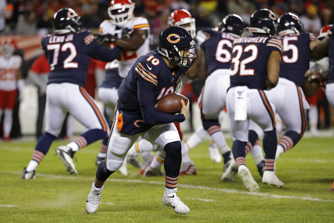 Chicago Bears quarterback Mitchell Trubisky (10) runs against the Kansas City Chiefs in the first half of an NFL football game in Chicago, Sunday, Dec. 22, 2019. (AP Photo/Nam Y. Huh)