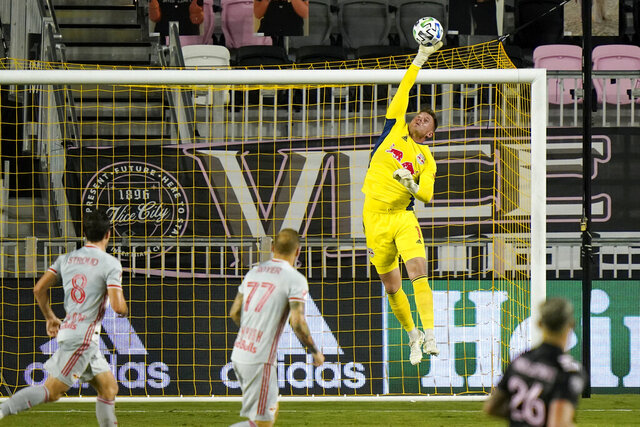 New York Red Bulls goalkeeper David Jensen makes a save during the second half of an MLS  match against Inter Miami, Wednesday, Sept. 23, 2020, in Fort Lauderdale, Fla. (AP Photo/Lynne Sladky)