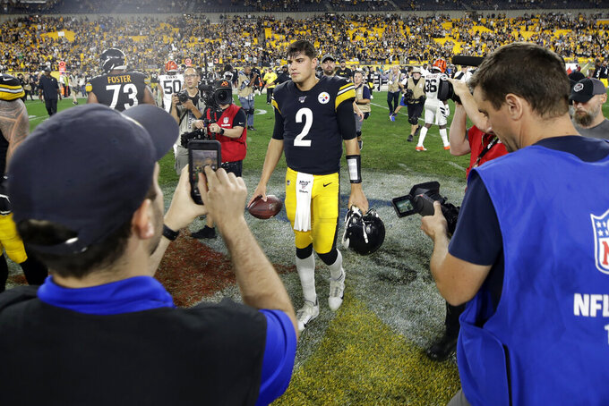 Pittsburgh Steelers quarterback Mason Rudolph (2) walks off the field following a win over the Cincinnati Bengals in an NFL football game in Pittsburgh, Monday, Sept. 30, 2019. (AP Photo/Don Wright)