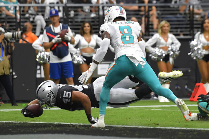Las Vegas Raiders fullback Alec Ingold (45) scores a touchdown by Miami Dolphins free safety Jevon Holland (8) during the first half of an NFL football game, Sunday, Sept. 26, 2021, in Las Vegas. (AP Photo/David Becker)