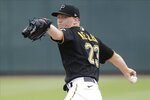 Pittsburgh Pirates' Mitch Keller (23) delivers a pitch during the second inning of a spring training baseball game against the Boston Red Sox Wednesday, Feb. 26, 2020, in Bradenton, Fla. (AP Photo/Frank Franklin II)