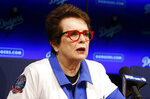 FILE - In this Friday, Sept. 21, 2018, file photo, tennis champion Billie Jean King speaks during a news conference the Los Angeles Dodgers announced that she and her partner Ilana Kloss are joining the Los Angeles Dodgers ownership group in Los Angeles. Groups that advocate for civil rights and women's rights have joined notable athletes in asking the NCAA to move the first and second rounds of the 2021 men's basketball tournament out of Idaho after the state passed a law banning transgender women from competing in women's sports. A letter sent and signed by a list of professional athletes including Megan Rapinoe, Billie Jean King, Jason Collins and Sue Bird calls for the NCAA to move the games set to be held March 2021 at Boise State University. (AP Photo/Alex Gallardo, File)