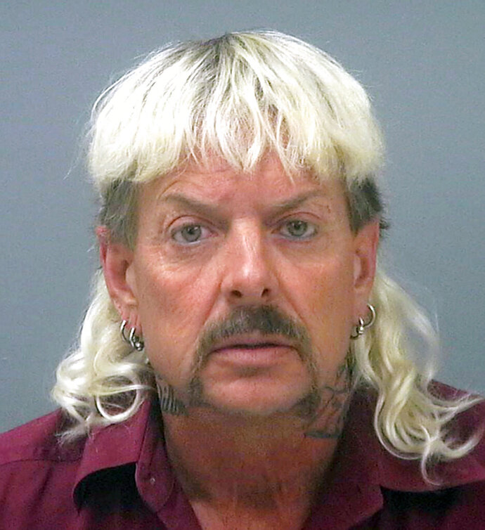FILE - This undated file photo provided by the Santa Rose County Jail in Milton, Fla., shows Joseph Maldonado-Passage, also known as Joe Exotic.  The