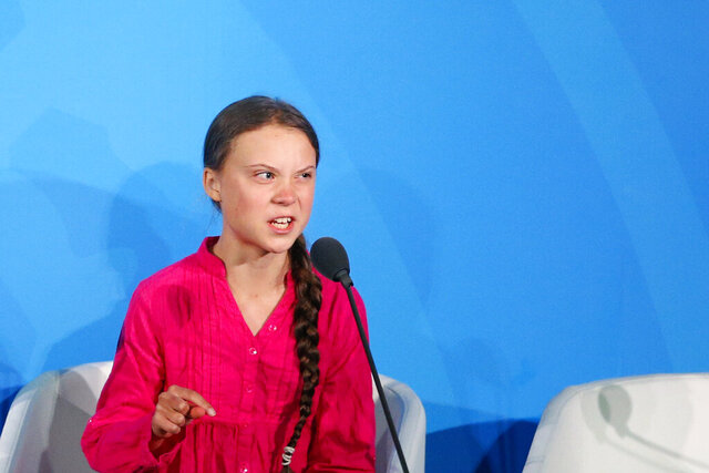 FILE - In this Monday, Sept. 23, 2019 file photo, Environmental activist Greta Thunberg, of Sweden, addresses the Climate Action Summit in the United Nations General Assembly, at U.N. headquarters in New York. 'Generation Greta' has become a vocal force in the debate over global warming. (AP Photo/Jason DeCrow, file)