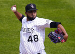 Colorado Rockies starting pitcher German Marquez (48) throws against the Oakland Athletics during the first inning of a baseball game, Wednesday, Sept. 16, 2020, in Denver. (AP Photo/Jack Dempsey)