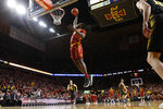 Iowa State forward Solomon Young dunks during the first half of an NCAA college basketball game against Iowa, Thursday, Dec. 12, 2019, in Ames, Iowa. (AP Photo/Charlie Neibergall)