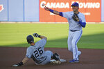 Toronto Blue Jays Joe Panik gets New York Yankess DJ LeMahieu out at second on a single hit by Gleber Torres during the first inning of a baseball game, Tuesday, June 15, 2021, in Buffalo, N.Y. (AP Photo/Jeffrey T. Barnes)