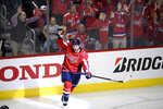 "FILE - In this April 13, 2019, file photo, Washington Capitals defenseman Brooks Orpik (44) celebrates his game-winning goal in overtime of Game 2 of an NHL hockey first-round playoff series against the Carolina Hurricanes in Washington. Orpik has decided to retire after 15 seasons and two Stanley Cup championships. The 38-year-old announced his retirement Tuesday, June 25, 2019. Orpik says his body is ""telling me it is time to move on to something new"" after 1,171 NHL regular-season and playoff games. (AP Photo/Nick Wass, File)"