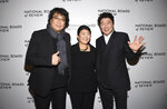 Director Bong Joon-ho, from left, Lee Jeong-eun and Kang-Ho Song attend the National Board of Review Awards gala at Cipriani 42nd Street on Wednesday, Jan. 8, 2020, in New York. (Photo by Evan Agostini/Invision/AP)
