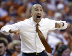 Texas coach Shaka Smart talks to his players during the first half on an NCAA college basketball game against Baylor, Wednesday, Feb. 6, 2019, in Austin, Texas. (AP Photo/Eric Gay)