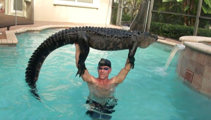 In this Wednesday, Oct. 15, 2019 handout photo shows Paul Bedard raising a 9-foot alligator over his head at a home in Parkland, Fla. Bedard, a local trapper, removed the nuisance reptile that had jumped into a customers pool. Bedard stars in the Animal Planet show