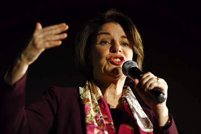 Democratic presidential candidate Sen. Amy Klobuchar, D-Minn., speaks during a town hall, Thursday, Feb. 13, 2020, in Las Vegas. (AP Photo/Patrick Semansky)
