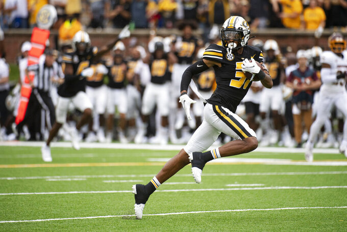 Missouri wide receiver D'ionte Smith pulls down a 63-yard reception during the first half of an NCAA college football game against Central Michigan, Saturday, Sept. 4, 2021, in Columbia, Mo. (AP Photo/L.G. Patterson)