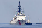 The U.S. Coast Guard National Security Cutter Bertholf (WMSL 750) arrives for a port call in the first visit by a U.S. cutter in over seven years, Wednesday, May 15, 2019 in Manila, Philippines. Capt. John Driscoll, commanding officer of the Bertholf, told reporters that two Chinese Coast Guard ships were spotted off the South China Sea while they were conducting a joint exercise with Philippine Coast Guard. (AP Photo/Bullit Marquez)