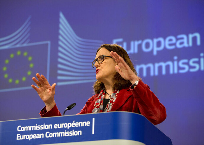 European Union Trade Commissioner Cecilia Malmstrom speaks during a media conference at EU headquarters in Brussels, Friday, Jan. 18, 2019. The European Union is insisting to keep agriculture out of the EU-US trade negotiations despite the wishes from Washington to include the vast sector. (AP Photo/Virginia Mayo)