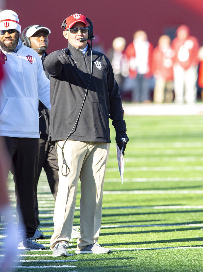 Indiana head coach Tom Allen gestures toward an official during the second half of an NCAA college football game against Maryland, Saturday, Nov. 10, 2018, in Bloomington, Ind. Indiana won 34-32. (AP Photo/Doug McSchooler)