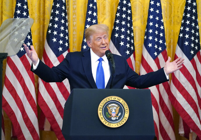 President Donald Trump speaks during an event to honor Bay of Pigs veterans, in the East Room of the White House, Wednesday, Sept. 23, 2020, in Washington. (AP Photo/Evan Vucci)