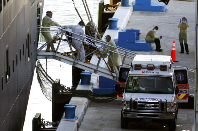 A person on a stretcher is removed from Carnival's Holland America cruise ship Zaandam at Port Everglades during the new coronavirus pandemic, Thursday, April 2, 2020, in Fort Lauderdale, Fla. Those passengers that are fit for travel in accordance with guidelines from the U.S. Centers for Disease Control will be permitted to disembark. (AP Photo/Lynne Sladky)