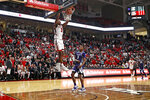 Texas Tech's Jahmi'us Ramsey (3) dunks during the second half of an NCAA college basketball game against Kansas State, Wednesday, Feb. 19, 2020, in Lubbock, Texas. (Brad Tollefson/Lubbock Avalanche-Journal via AP)