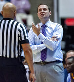 LSU head coach Will Wade argues a call against Alabama during the first half of an NCAA college basketball game, Saturday, March 2, 2019, in Tuscaloosa, Ala. (AP Photo/Vasha Hunt)