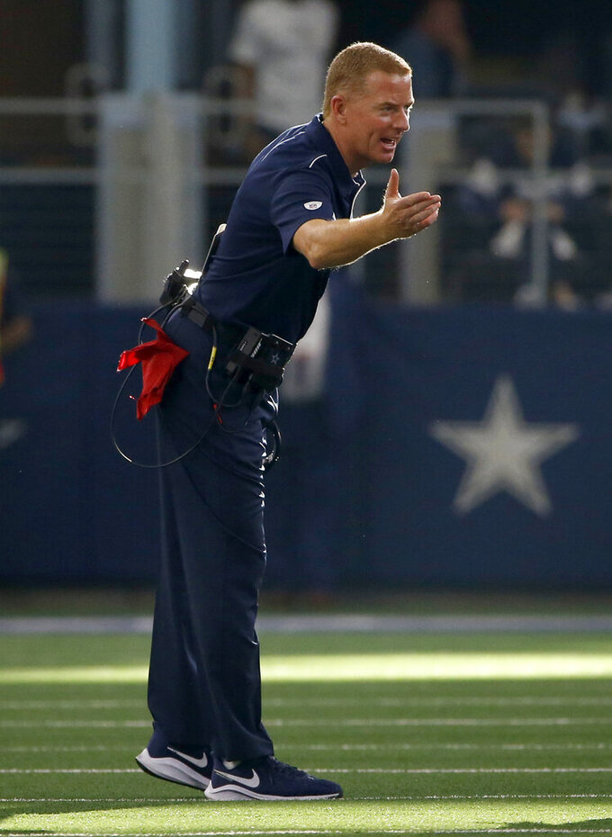 Dallas Cowboys head coach Jason Garrett shouts in the direction of an official in the second half of a NFL football game against the New York Giants in Arlington, Texas, Sunday, Sept. 8, 2019. (AP Photo/Ron Jenkins)