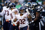 Chicago Bears' David Montgomery celebrates after scoring a touchdown during the second half of an NFL football game against the Philadelphia Eagles, Sunday, Nov. 3, 2019, in Philadelphia. (AP Photo/Matt Rourke)