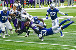 Baltimore Ravens quarterback Lamar Jackson (8) is tackled by Indianapolis Colts outside linebacker Darius Leonard (53) in the second half of an NFL football game in Indianapolis, Sunday, Nov. 8, 2020. (AP Photo/Darron Cummings)