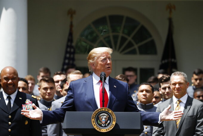 President Donald Trump speaks during the presentation of the Commander-in-Chief's Trophy to the U.S. Military Academy at West Point football team, in the Rose Garden of the White House, Monday, May 6, 2019, in Washington. (AP Photo/Alex Brandon)