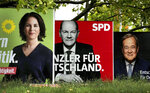 FILE - In This Thursday, Sept. 16, 2021 file photo, three elections posters show top candidate for chancellor of the Greens Annalena Baerbock, left, Social Democratic top candidate for chancellor Olaf Scholz, center, and Christian Democratic top candidate for chancellor Armin Laschet, right, in Berlin, Germany. Germany's election campaign has largely focused on the three candidates hoping to succeed Angela Merkel as chancellor after four terms in office. German federal elections will be on Sept. 26, 2021. (AP Photo/Michael Sohn, file)