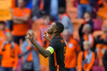 Georginio Wijnaldum of the Netherlands celebrates after scoring his team second goal during the Euro 2020 soccer championship group C match between The Netherlands and North Macedonia at the Johan Cruyff ArenA in Amsterdam, Netherlands, Monday, June 21, 2021. (AP Photo/Peter Dejong, Pool)
