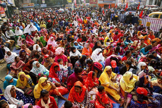 Supporters of Communist Party of India (Marxist-Leninist) Red Star attend a protest against a new citizenship law that opponents say threatens India's secular identity, in Kolkata, India, Thursday, Feb. 6, 2020. Demonstrators across the country have been demanding the revocation of the citizenship law. The law provides a fast-track to naturalization for persecuted religious minorities from some neighboring Islamic countries, but excludes Muslims. (AP Photo/Bikas Das)