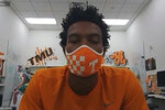 This image taken from video shows Tennessee sophomore basketball player Josiah-Jordan James, Friday, July 10, 2020. The Big Ten decision to wipe more than three dozen nonconference football games off the schedule this year has sent a ripple of fear through athletic departments across much of the country. (AP Photo/Teresa Walker via Zoom)