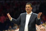 Arizona coach Sean Miller reacts to a foul call during the first half of the team's NCAA college basketball game against UCLA on Saturday, Feb. 8, 2020, in Tucson, Ariz. (AP Photo/Rick Scuteri)