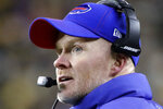 Buffalo Bills head coach Sean McDermott looks at the scoreboard during the second half of an NFL football game against the Pittsburgh Steelers in Pittsburgh, Sunday, Dec. 15, 2019. (AP Photo/Don Wright)