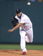 Boston Red Sox starting pitcher Eduardo Rodriguez delivers during the first inning of a baseball game against the Toronto Blue Jays at Fenway Park in Boston, Wednesday, July 17, 2019. (AP Photo/Charles Krupa)