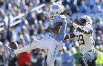 North Carolina's Anthony Ratliff-Williams (17) tries to grab a pass while Georgia Tech's Tariq Carpenter (29) defends during the second half of an NCAA college football game in Chapel Hill, N.C., Saturday, Nov. 3, 2018. Georgia Tech won 38-28. (AP Photo/Gerry Broome)