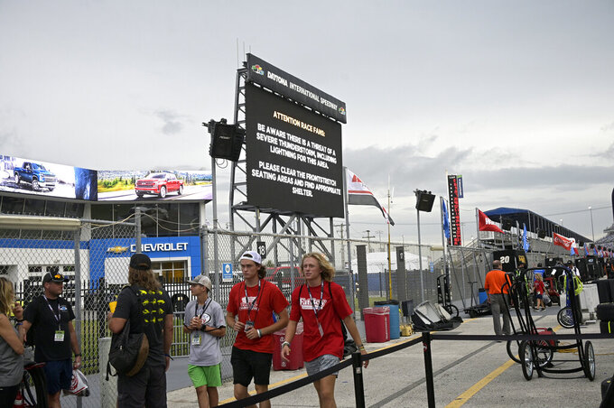 A severe weather alert is displayed on an infield video monitor during a delay of a NASCAR Xfinity Series auto race at Daytona International Speedway, Friday, Aug. 27, 2021, in Daytona Beach, Fla. (AP Photo/Phelan M. Ebenhack)