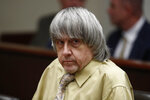 David Turpin sits during a courtroom hearing, Friday, Feb. 22, 2019, in Riverside, Calif. Turpin and his wife, Louise, who shackled some of their 13 children to beds and starved them pleaded guilty on Friday to torture and other abuse. (AP Photo/Jae C. Hong, Pool)